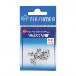 agrafe peche double americaine inox pecheur peche flashmer pochette 10