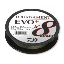 Tresse peche Daiwa Tournament 8 Braid EVO + Daiwa 135 m Verte nouveauté catalogue Daiwa 2022