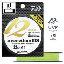 tresse de pêche Daiwa Morethan 12 Brins Braid EX jaune chartreux chez pecheur-peche com