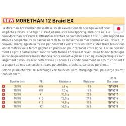 tresse de pêche Daiwa Morethan 12 Brins Braid EX jaune chartreux chez pecheur-peche com catalogue Daiwa 2019