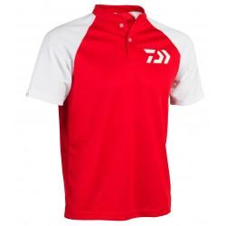 Polo Col Mao Respirant Rouge & blanc PRMB Daiwa acheter chez pecheur-peche com catalogue Daiwa