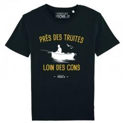 T-Shirt peche Près des truites loin des cons Monsieur Pecheur achetez chez pecheur-peche noir