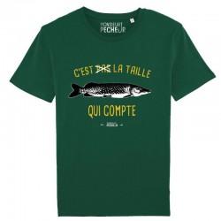 T-Shirt C'est pas la taille qui compte brochet Monsieur Pêcheur chez pecheur peche com vert