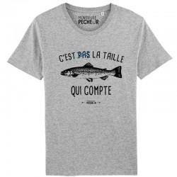 T-Shirt C'est pas la taille qui compte Truite Monsieur Pecheur achetez chez pecheur peche com gris