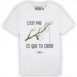 T-Shirt c'est pas ce que tu crois Monsieur Pecheur achetez chez pecheur-peche com blanc