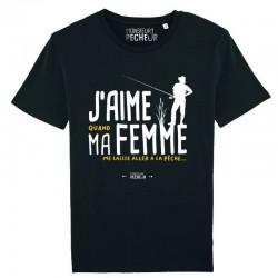 T-Shirt J'aime Ma Femme Monsieur Pecheur achetez chez pecheur peche com noir