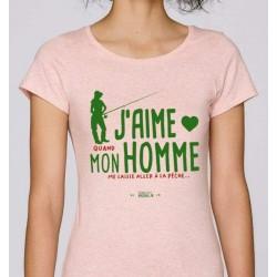T-Shirt Femme J'Aime Mon Homme Mr Pecheur acheter chez pecheur peche com rose