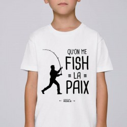 T-Shirt Enfant Qu'On Me Fiche Fish La Paix Mr Pêcheur acheter chez pecheur peche com blanc pecheur