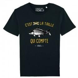 T-Shirt C'est Pas La Taille Qui Compte carpe Mr Pecheur carpiste acheter chez pecheur peche com noir