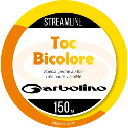 Nylon Toc mono Streamline Toc 150 M Bicolore orange jaune Garbolino pêche appât naturel